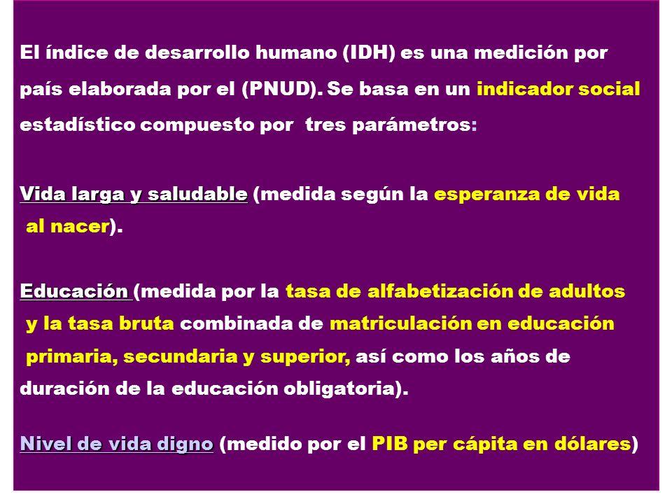 El índice de desarrollo humano (IDH) es una medición por