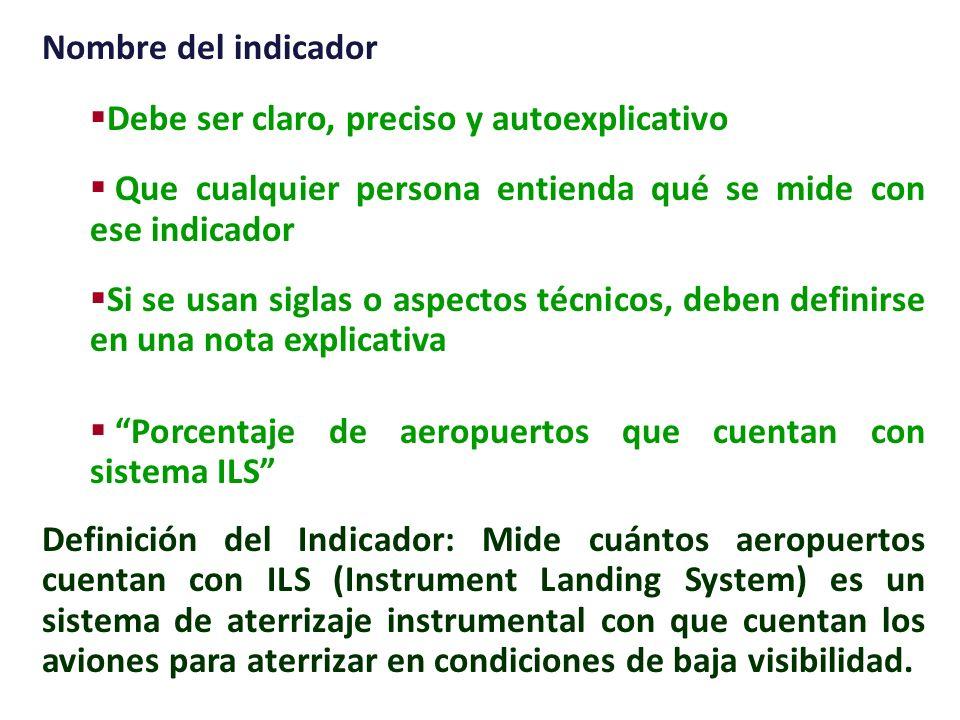 Nombre del indicador Debe ser claro, preciso y autoexplicativo. Que cualquier persona entienda qué se mide con ese indicador.