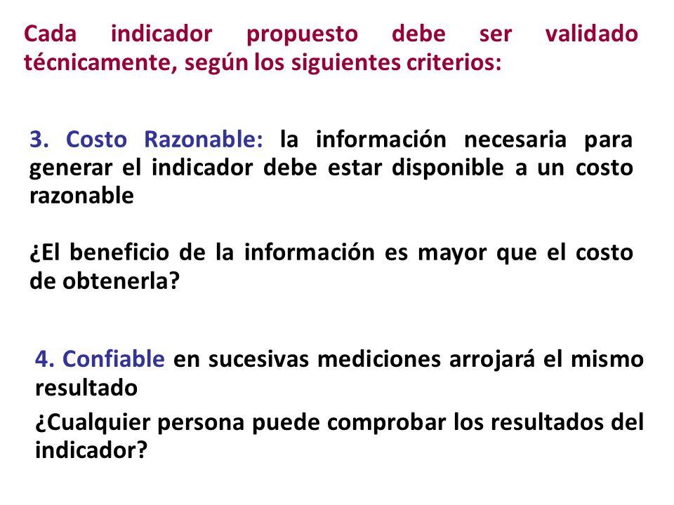 Cada indicador propuesto debe ser validado técnicamente, según los siguientes criterios: