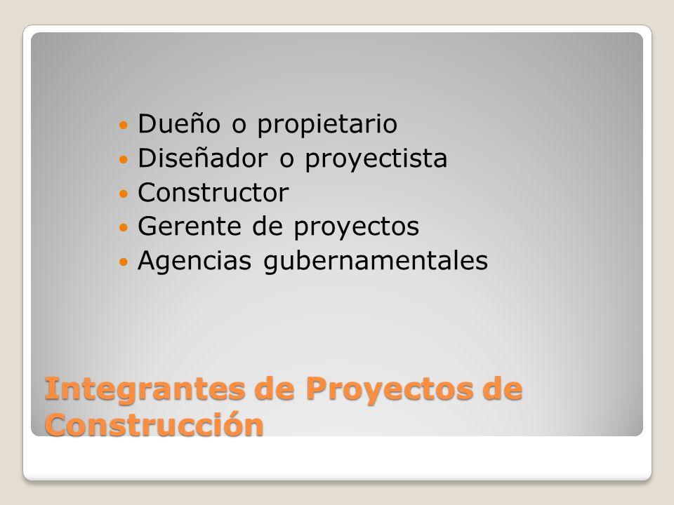 Integrantes de Proyectos de Construcción