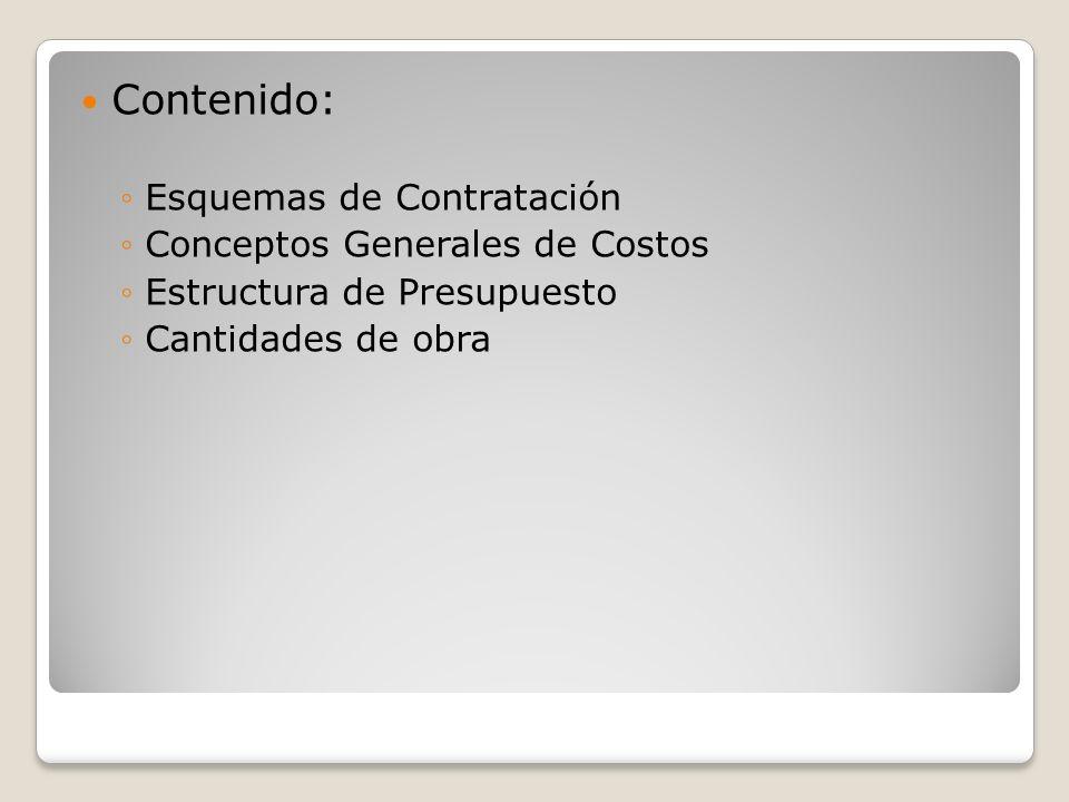 Contenido: Esquemas de Contratación Conceptos Generales de Costos