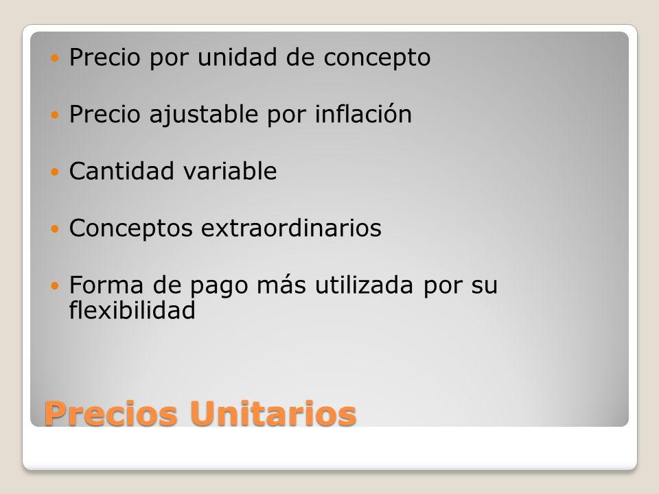 Precios Unitarios Precio por unidad de concepto