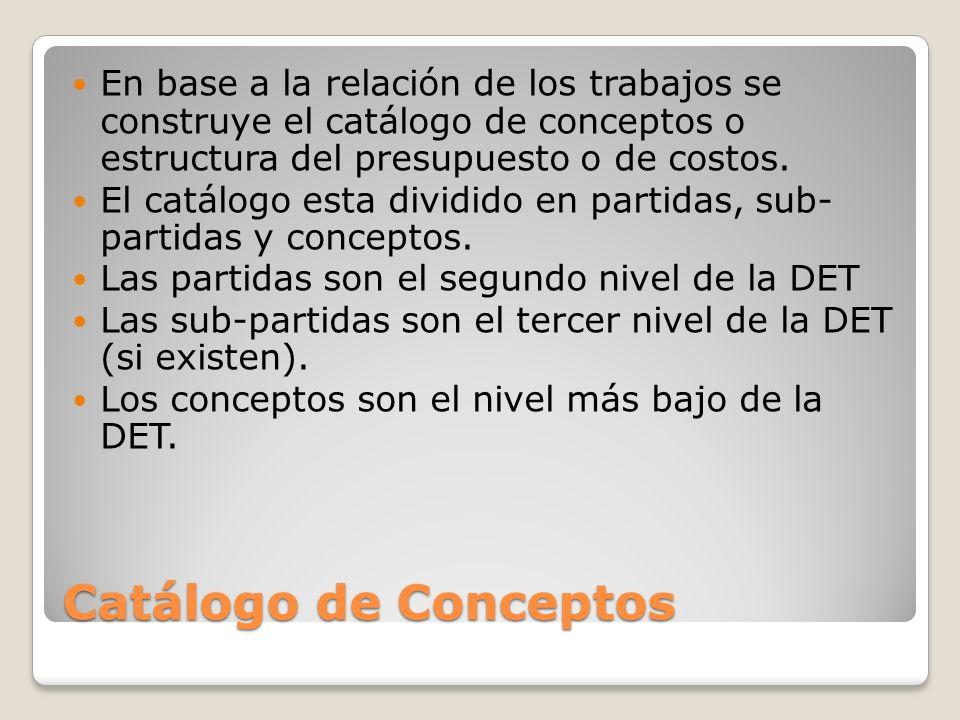 En base a la relación de los trabajos se construye el catálogo de conceptos o estructura del presupuesto o de costos.