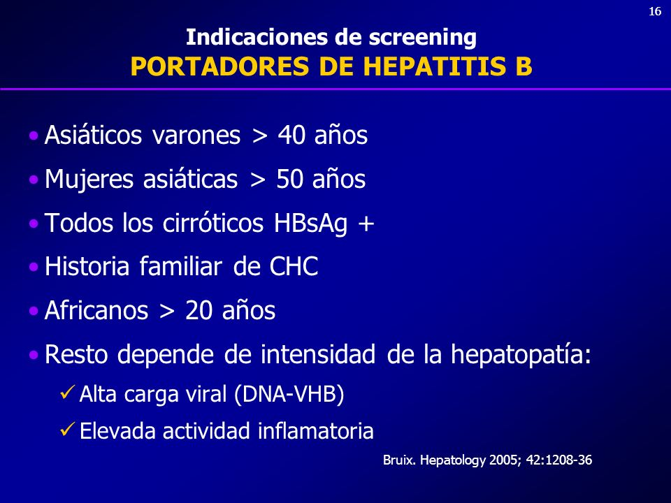 Indicaciones de screening PORTADORES DE HEPATITIS B