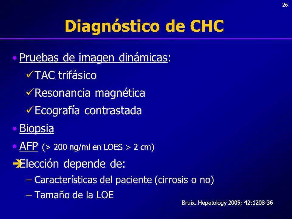 Diagnóstico de CHC Pruebas de imagen dinámicas: TAC trifásico