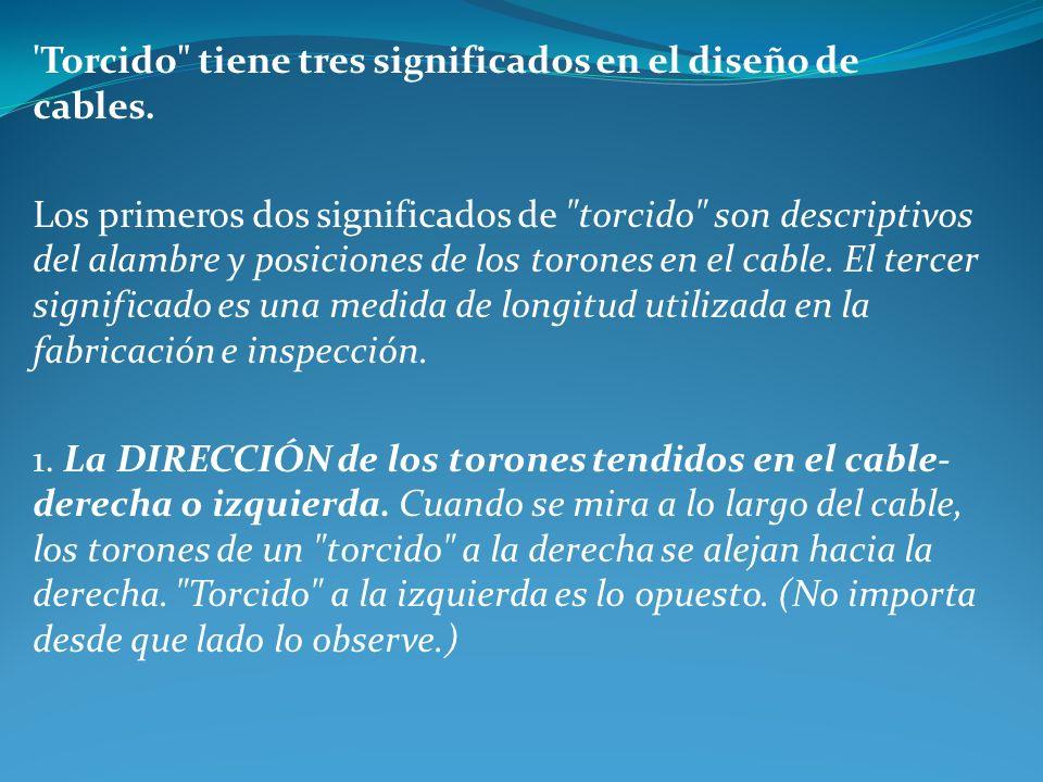 Torcido tiene tres significados en el diseño de cables.