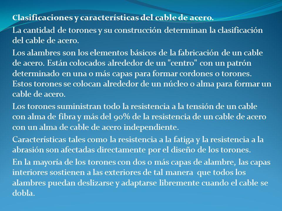 Clasificaciones y características del cable de acero.