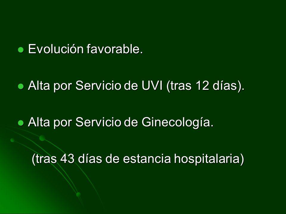 Evolución favorable.Alta por Servicio de UVI (tras 12 días).