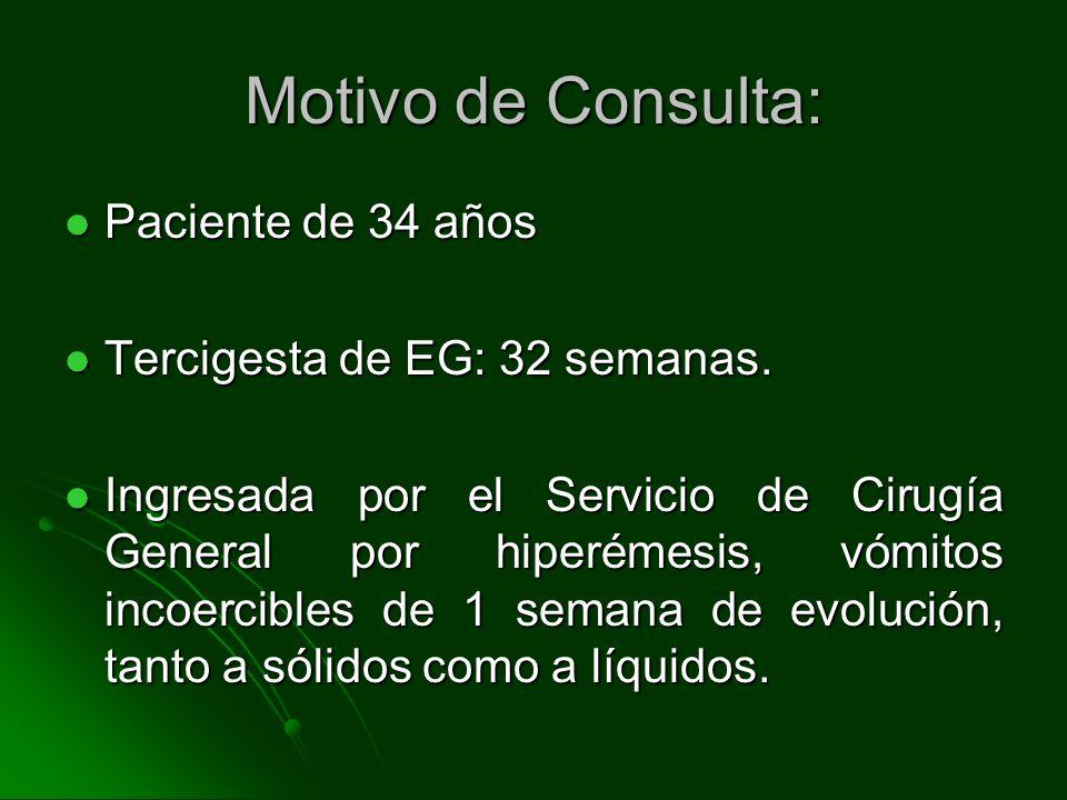 Motivo de Consulta: Paciente de 34 años Tercigesta de EG: 32 semanas.