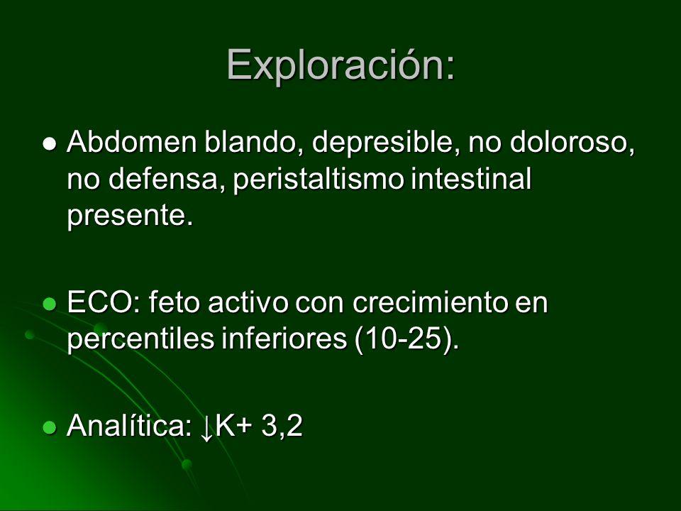 Exploración:Abdomen blando, depresible, no doloroso, no defensa, peristaltismo intestinal presente.