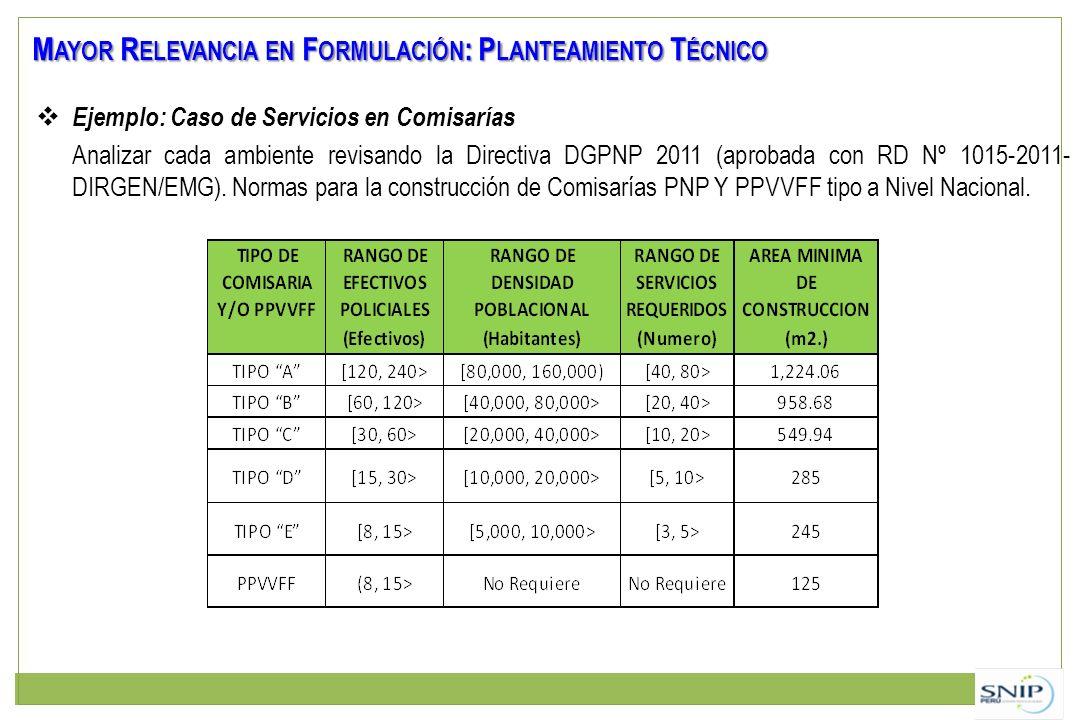Mayor Relevancia en Formulación: Planteamiento Técnico