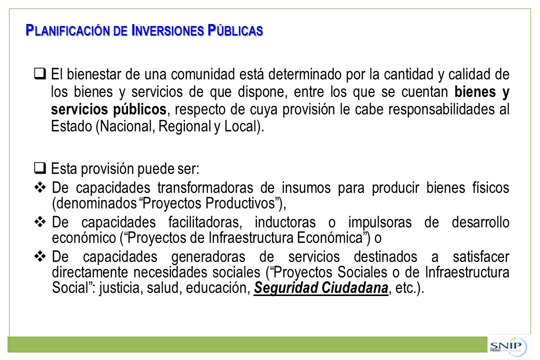 Planificación de Inversiones Públicas