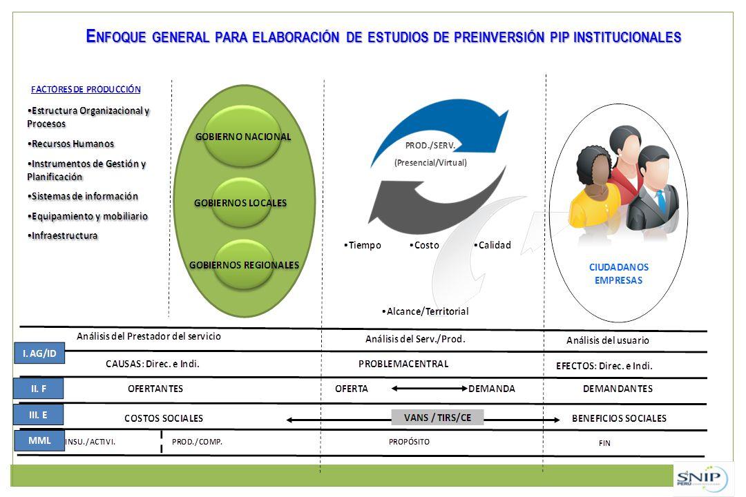 Enfoque general para elaboración de estudios de preinversión pip institucionales