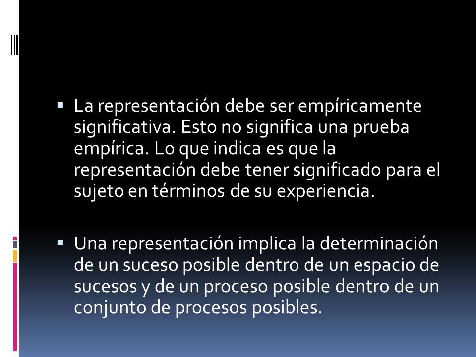 La representación debe ser empíricamente significativa