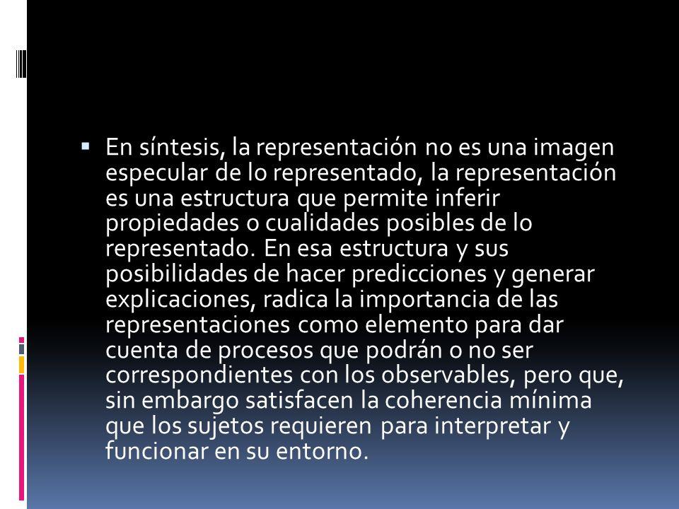 En síntesis, la representación no es una imagen especular de lo representado, la representación es una estructura que permite inferir propiedades o cualidades posibles de lo representado.
