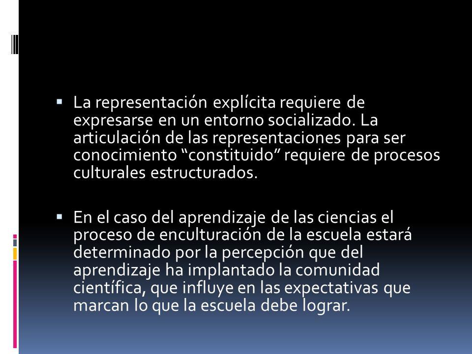 La representación explícita requiere de expresarse en un entorno socializado. La articulación de las representaciones para ser conocimiento constituido requiere de procesos culturales estructurados.