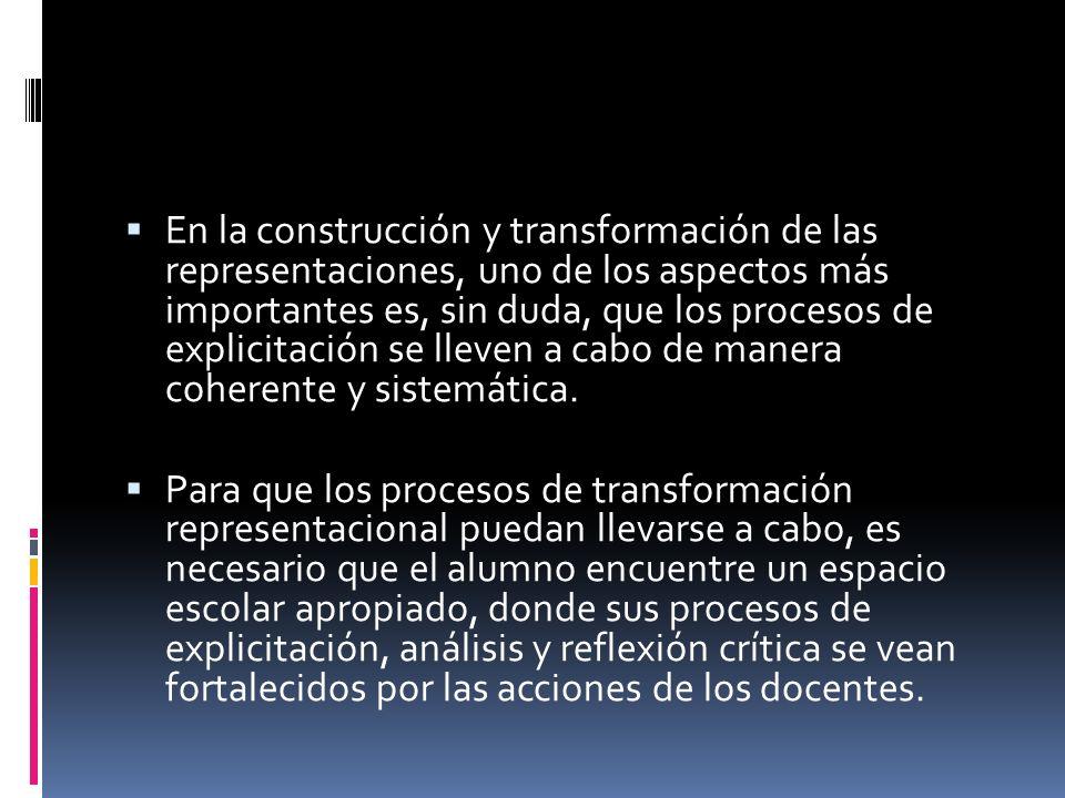 En la construcción y transformación de las representaciones, uno de los aspectos más importantes es, sin duda, que los procesos de explicitación se lleven a cabo de manera coherente y sistemática.