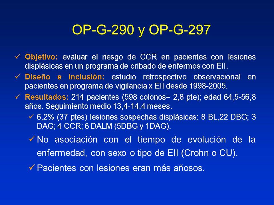OP-G-290 y OP-G-297 Objetivo: evaluar el riesgo de CCR en pacientes con lesiones displásicas en un programa de cribado de enfermos con EII.