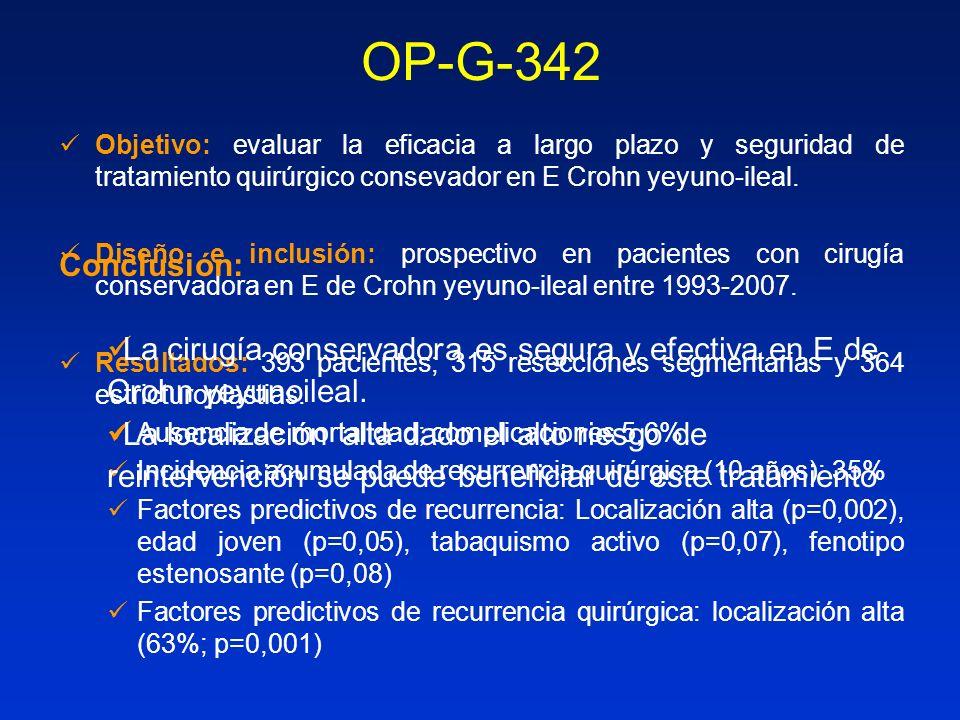 OP-G-342 Objetivo: evaluar la eficacia a largo plazo y seguridad de tratamiento quirúrgico consevador en E Crohn yeyuno-ileal.