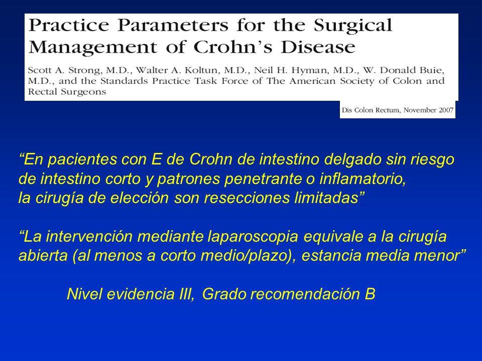 OP-G-342 En pacientes con E de Crohn de intestino delgado sin riesgo de intestino corto y patrones penetrante o inflamatorio,