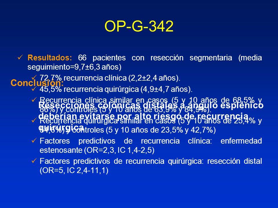 OP-G-342 Conclusión: Resecciones colónicas distales a ángulo esplénico