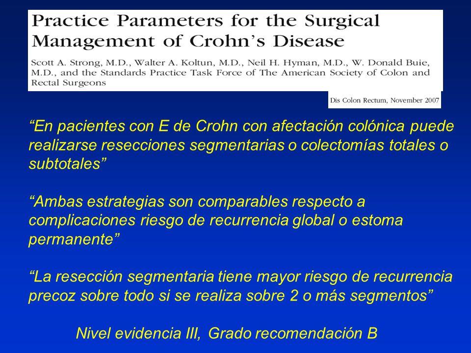En pacientes con E de Crohn con afectación colónica puede realizarse resecciones segmentarias o colectomías totales o subtotales
