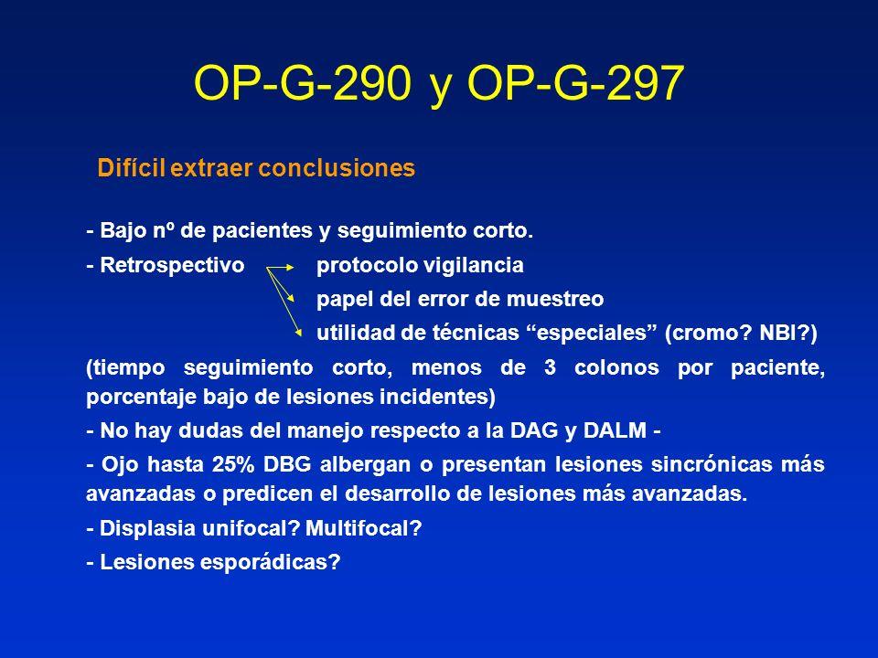 OP-G-290 y OP-G-297 Difícil extraer conclusiones