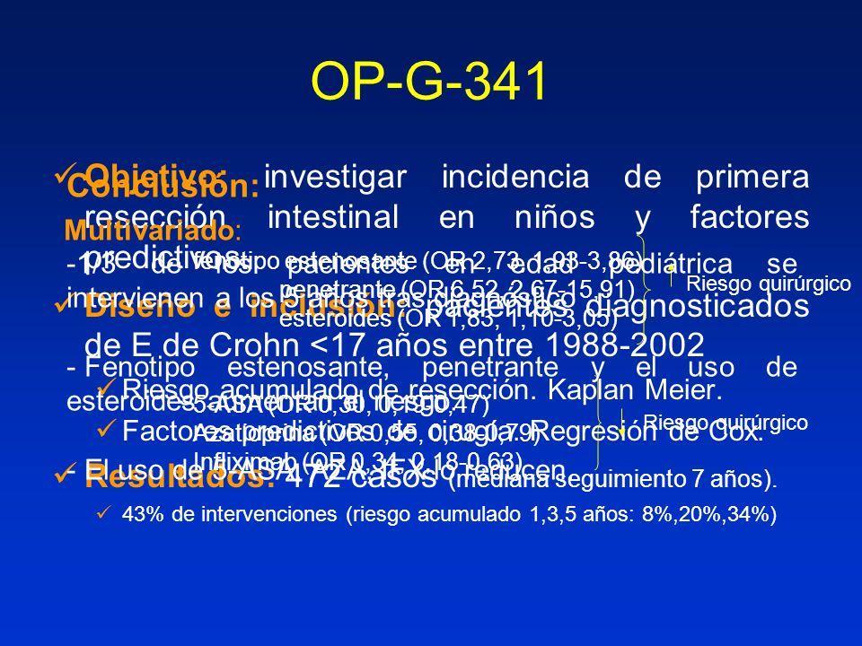 OP-G-341 Objetivo: investigar incidencia de primera resección intestinal en niños y factores predictivos.
