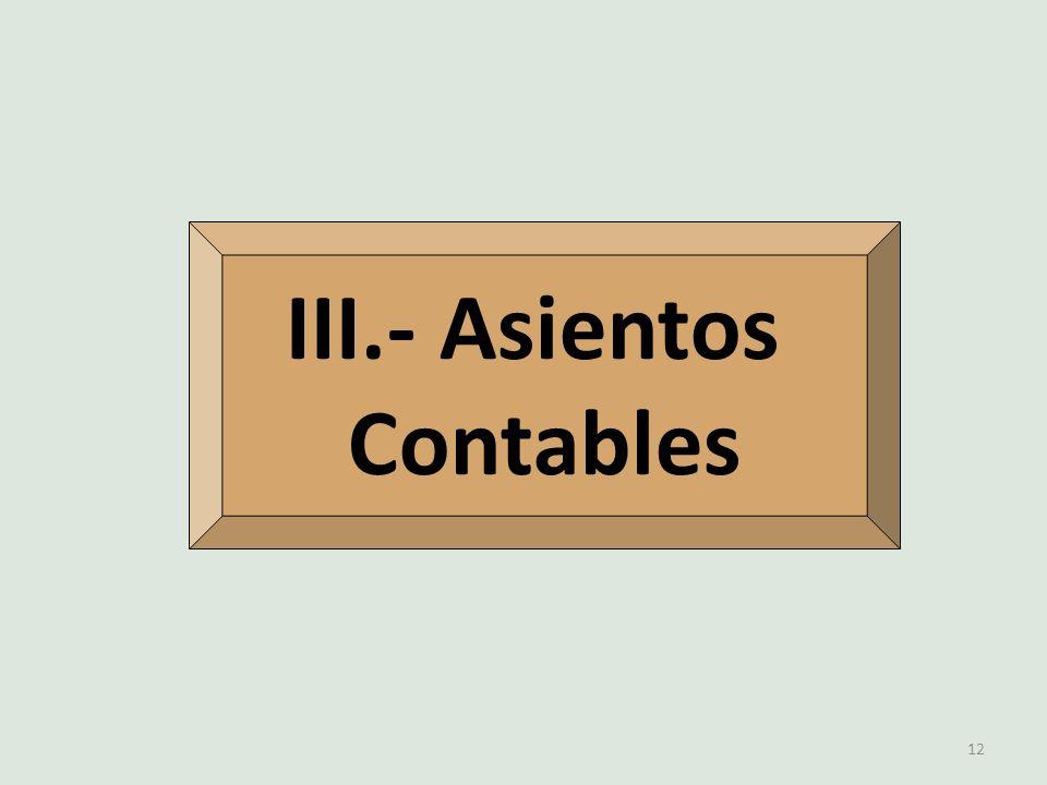 III.- Asientos Contables