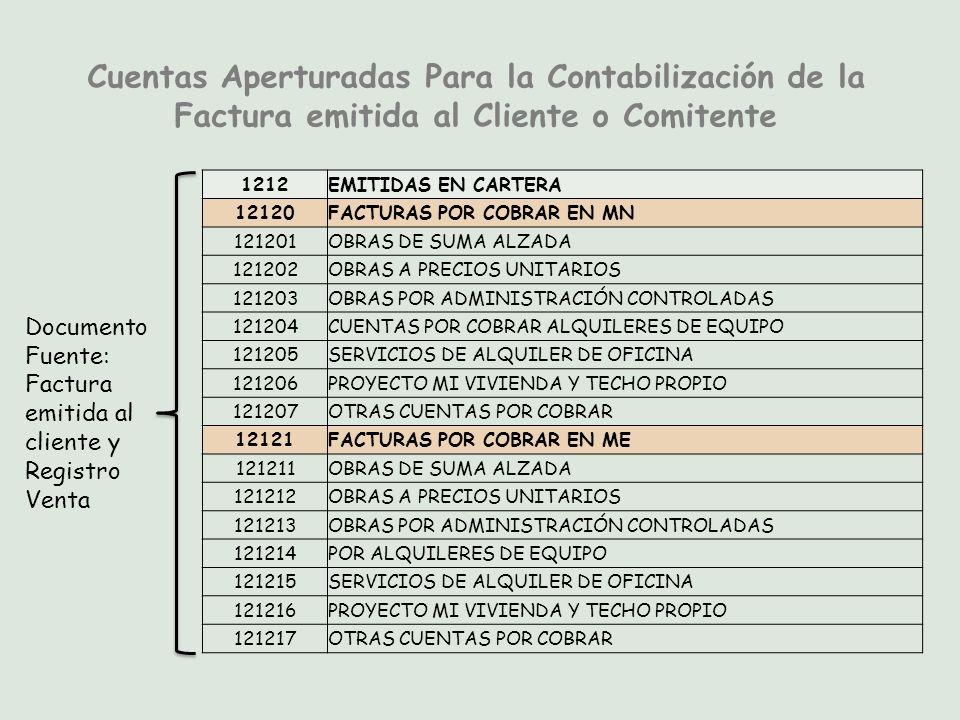 Cuentas Aperturadas Para la Contabilización de la Factura emitida al Cliente o Comitente
