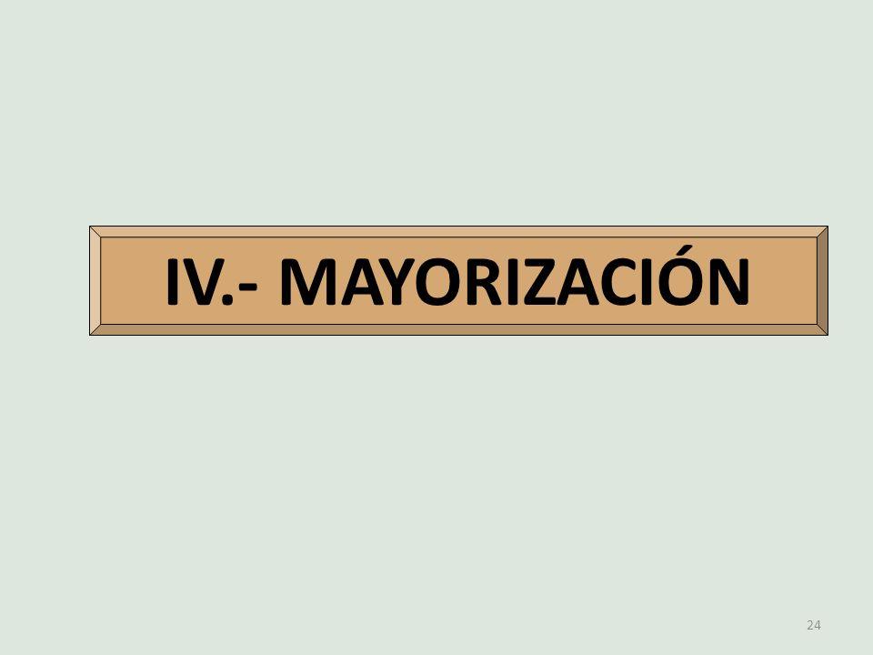 IV.- MAYORIZACIÓN