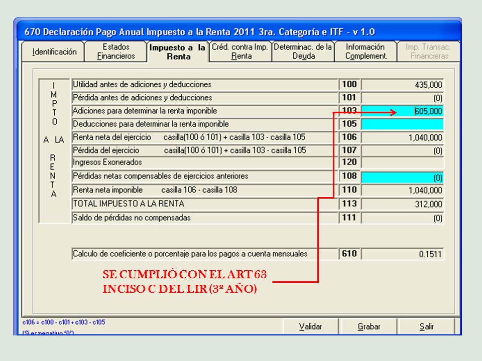 SE CUMPLIÓ CON EL ART 63 INCISO C DEL LIR (3º AÑO)