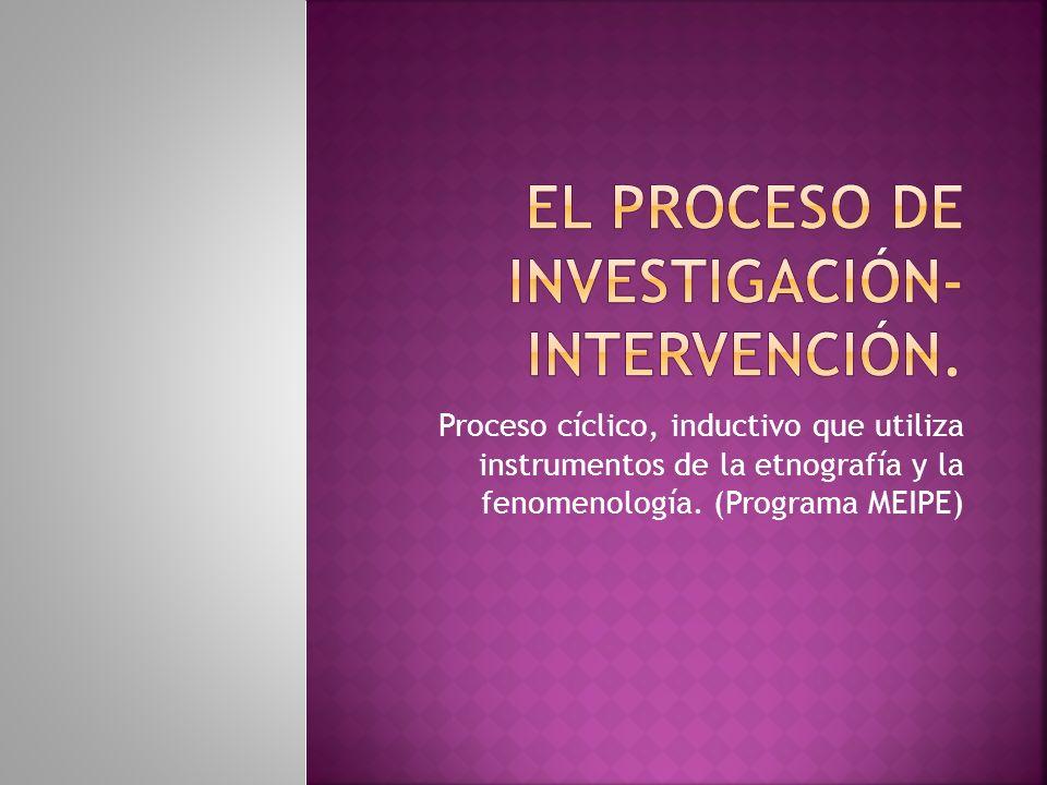 EL PROCESO DE INVESTIGACIÓN-INTERVENCIÓN.