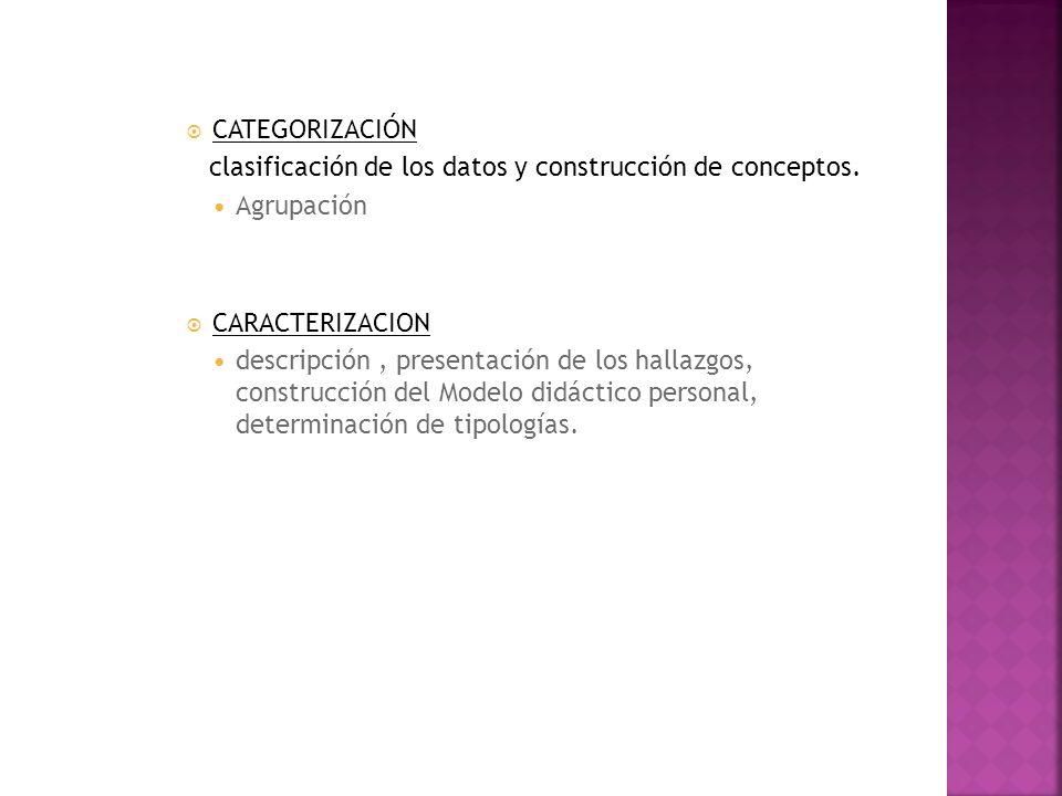 CATEGORIZACIÓN clasificación de los datos y construcción de conceptos. Agrupación. CARACTERIZACION.