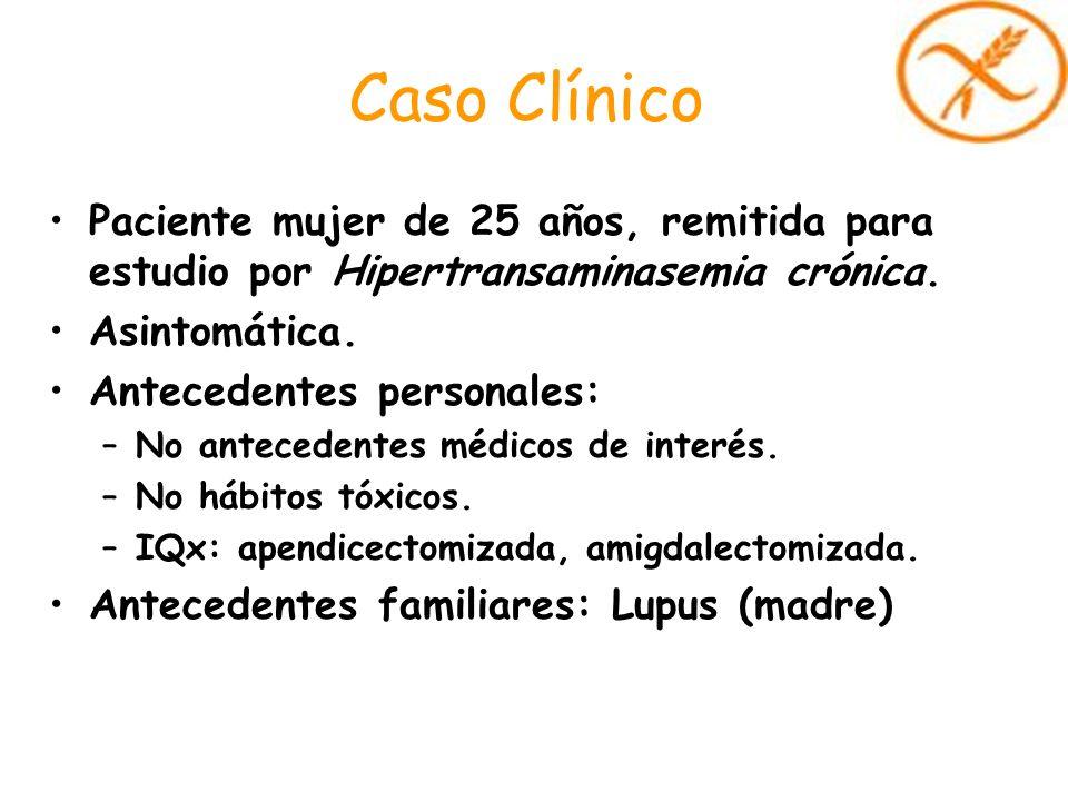 Caso ClínicoPaciente mujer de 25 años, remitida para estudio por Hipertransaminasemia crónica. Asintomática.