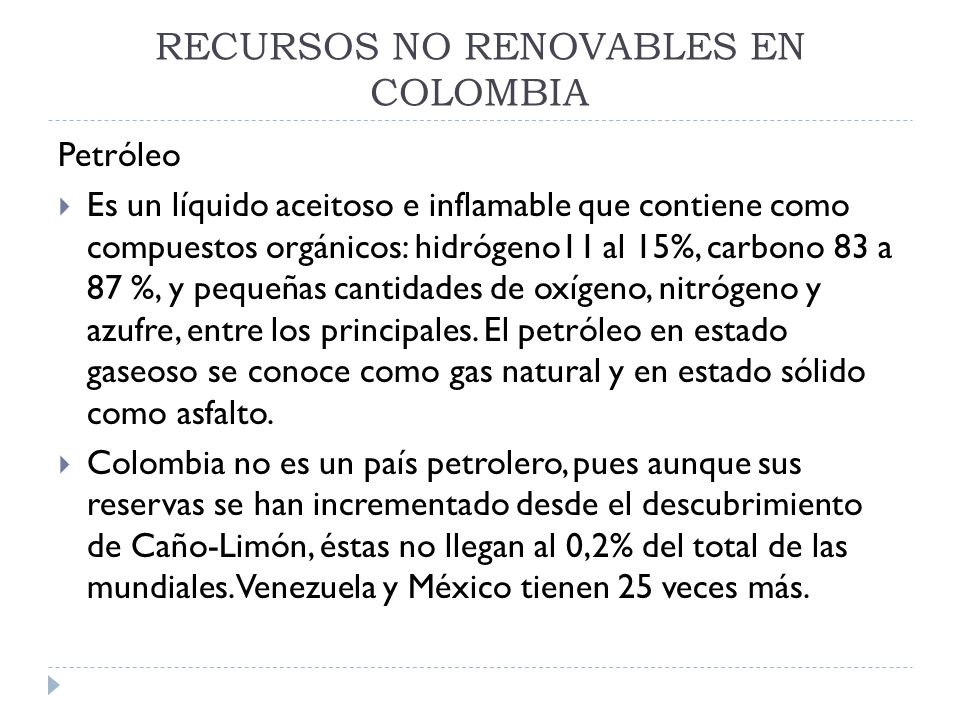 RECURSOS NO RENOVABLES EN COLOMBIA