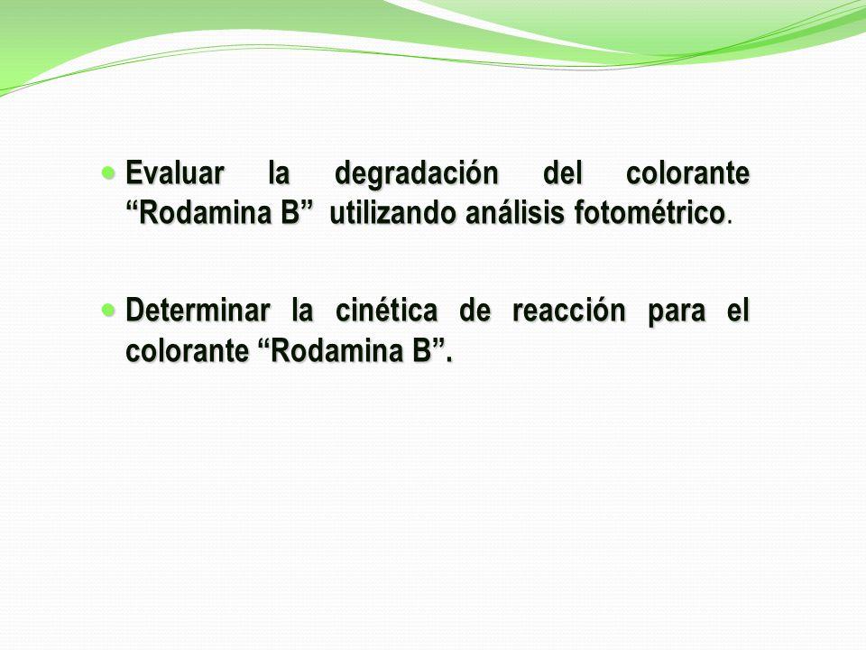 Evaluar la degradación del colorante Rodamina B utilizando análisis fotométrico.