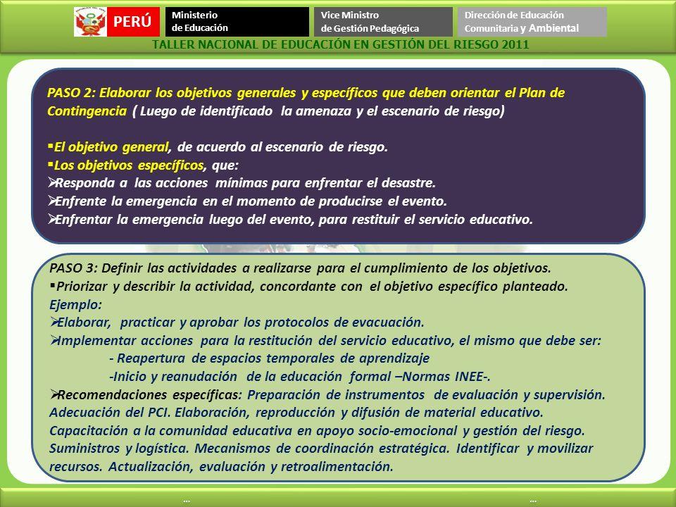 PASO 2: Elaborar los objetivos generales y específicos que deben orientar el Plan de Contingencia ( Luego de identificado la amenaza y el escenario de riesgo)