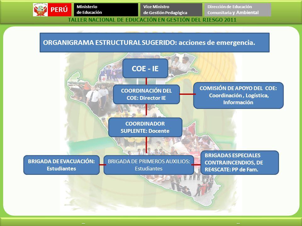COE - IE ORGANIGRAMA ESTRUCTURAL SUGERIDO: acciones de emergencia.