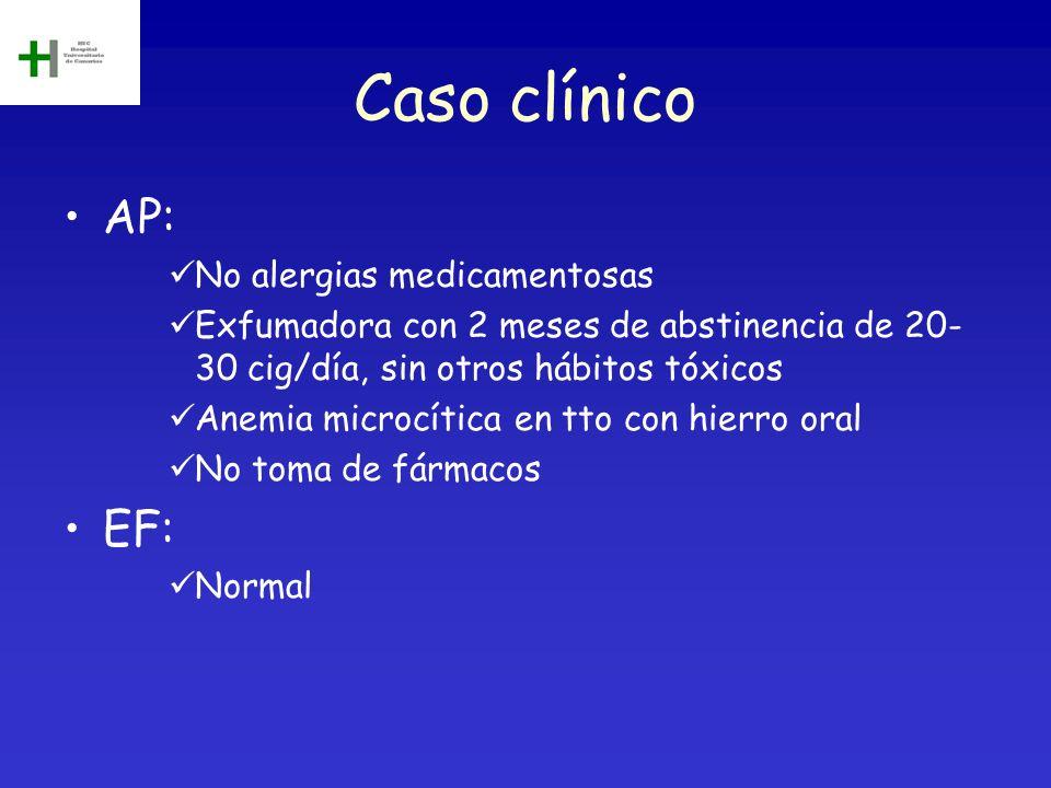 Caso clínico AP: EF: No alergias medicamentosas