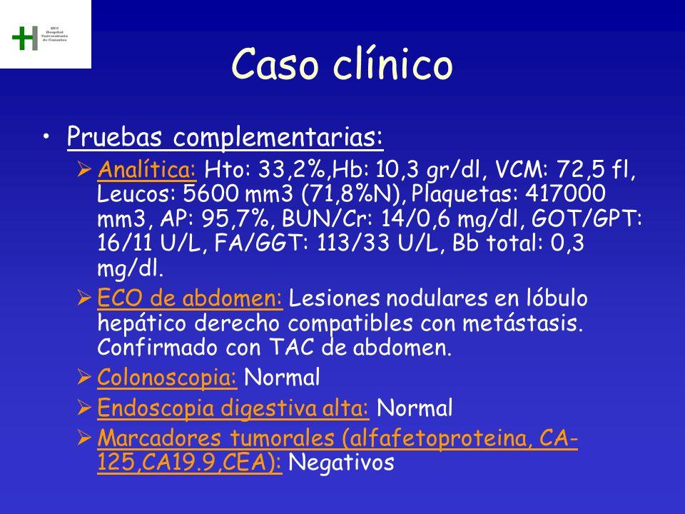 Caso clínico Pruebas complementarias: