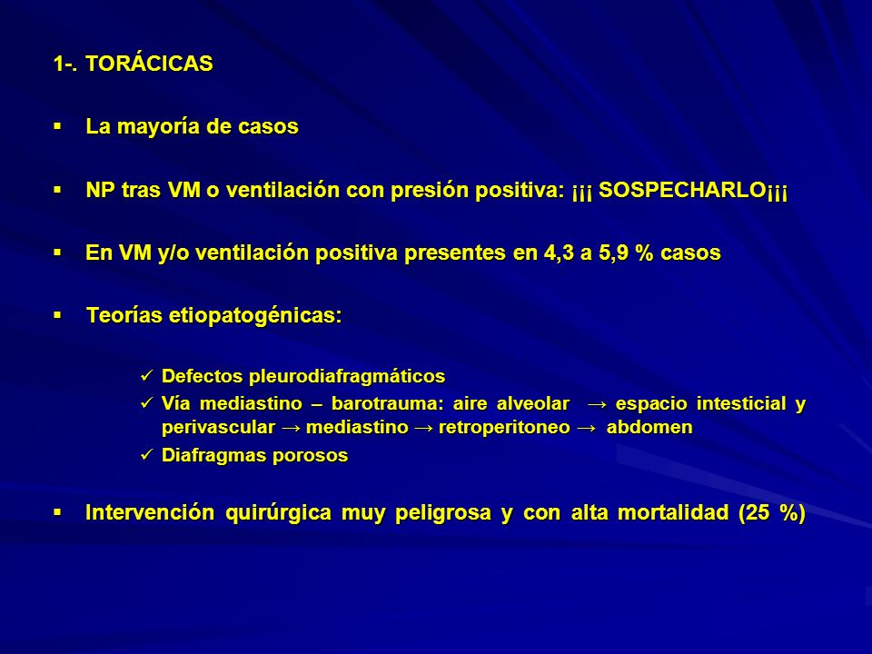 NP tras VM o ventilación con presión positiva: ¡¡¡ SOSPECHARLO¡¡¡