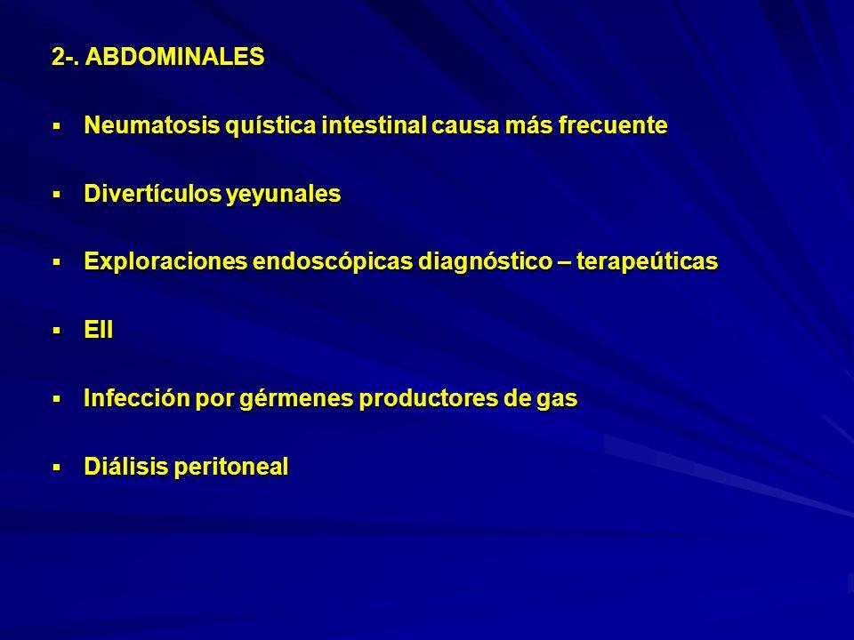 2-. ABDOMINALES Neumatosis quística intestinal causa más frecuente. Divertículos yeyunales. Exploraciones endoscópicas diagnóstico – terapeúticas.