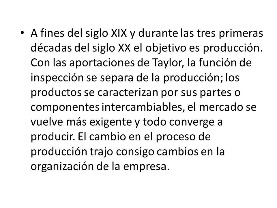 A fines del siglo XIX y durante las tres primeras décadas del siglo XX el objetivo es producción.