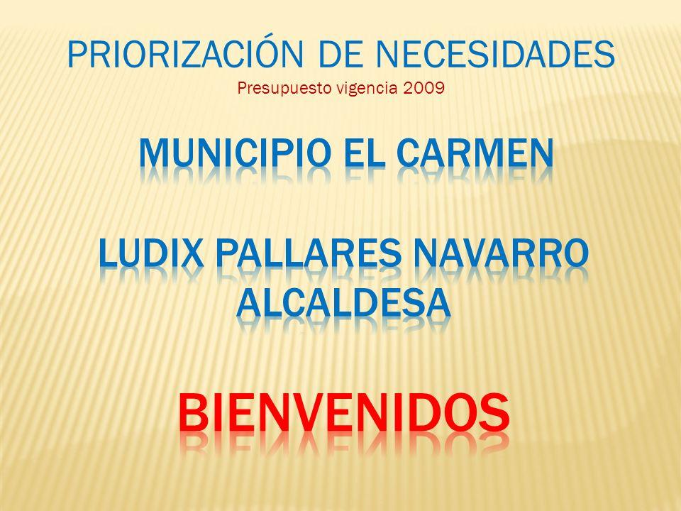 MUNICIPIO EL CARMEN LUDIX PALLARES NAVARRO ALCALDESA bienvenidos