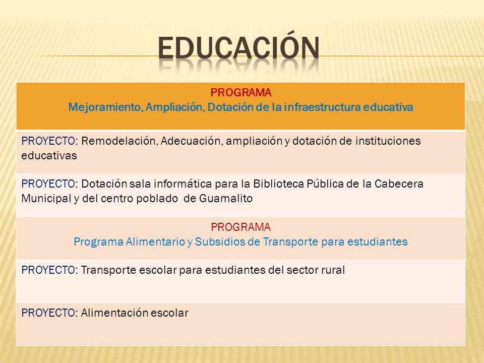 Mejoramiento, Ampliación, Dotación de la infraestructura educativa