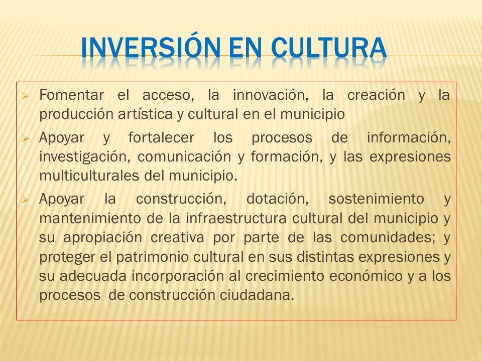 Inversión en cultura Fomentar el acceso, la innovación, la creación y la producción artística y cultural en el municipio.