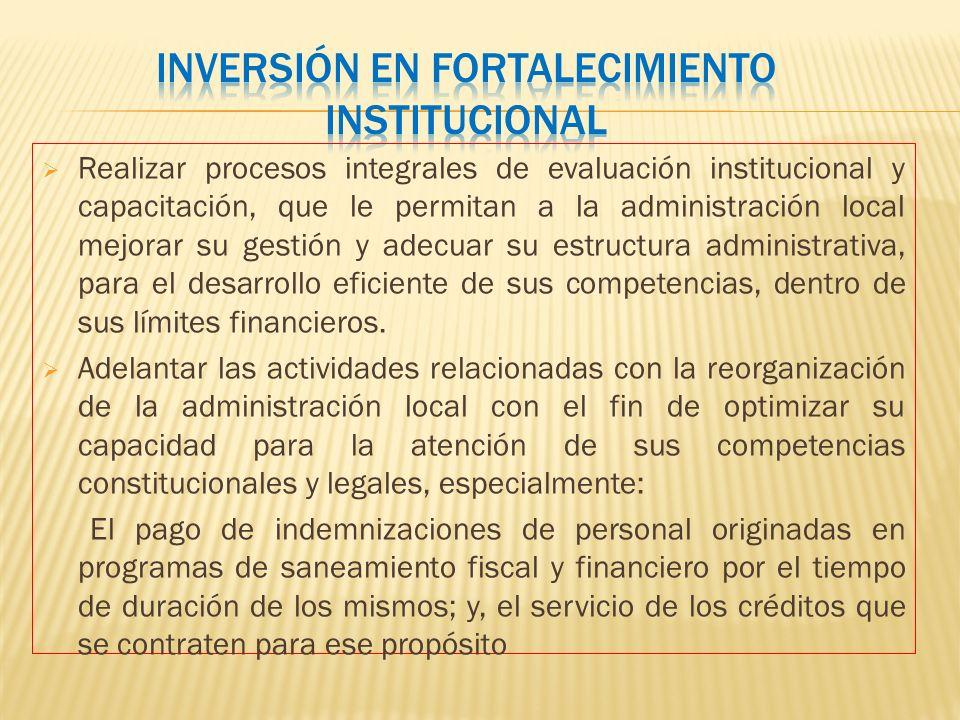 Inversión en fortalecimiento institucional