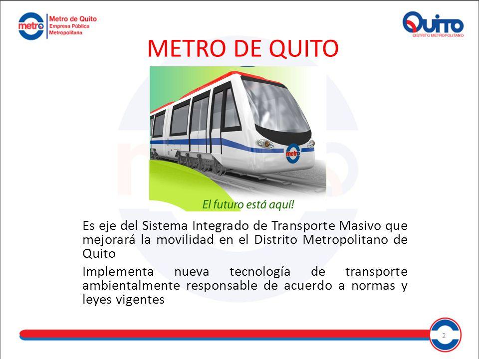 METRO DE QUITO Es eje del Sistema Integrado de Transporte Masivo que mejorará la movilidad en el Distrito Metropolitano de Quito.
