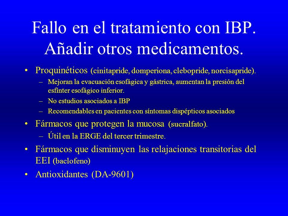 Fallo en el tratamiento con IBP. Añadir otros medicamentos.